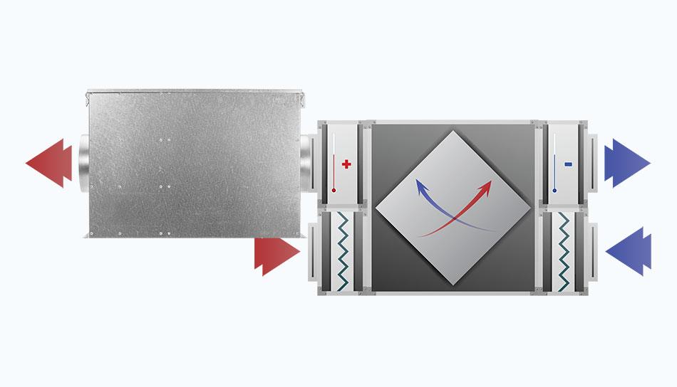 SmogBox - innowacyjny filtr antysmogowy skutecznie filtrujący pyły zawieszone PM1, PM2.5 i PM10, jak również typowe zapachy wchodzące w skład smogu i dymów - Instalacja za rekuperatorem